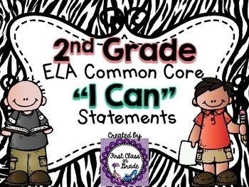 "2nd Grade Common Core ELA ""I Can"" Statements (Zebra)"