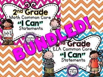 "2nd Grade Common Core ELA & Math ""I Can"" Statements (Chevron)"