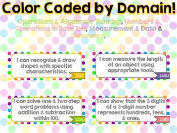 "2nd Grade Common Core ELA & Math ""I Can"" Statements (Polka Dot)"