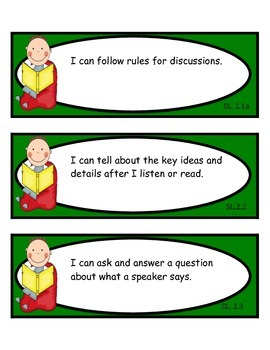 2nd Grade Common Core ELA: Speaking and Listening Skills I CAN Statement