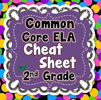 2nd Grade Common Core ELA Standards CHEAT SHEET (ALL standards on 1 PAGE)