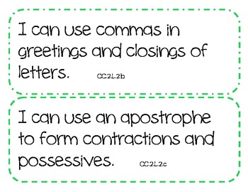 """2nd Grade Common Core ELA Standards - """"I Can"""" Statements  (COLOR BORDER THEME)"""