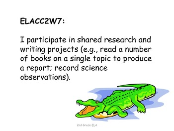 2nd Grade Common Core ELA Standards for Posting--Reptiles