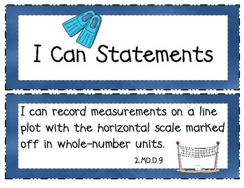 2nd Grade Common Core ELA and Math I Can Statements Ocean Theme