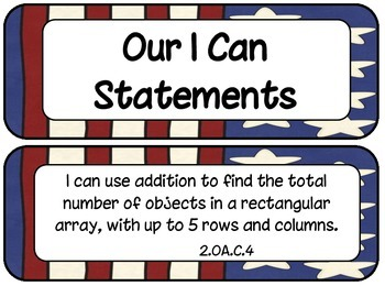 2nd Grade Common Core ELA and Math I Can Statements Patriotic Theme