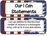 2nd Grade Common Core ELA and Math I Can Statements Patrio