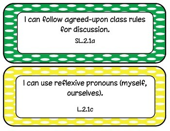 2nd Grade Common Core ELA and Math I Can Statements Polk-a-dots