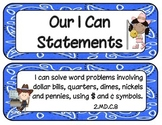 2nd Grade Common Core ELA and Math I Can Statements Western Theme