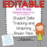 Student Data Tracking Binder | Data Graphing: 2nd Grade ELA Literacy *EDITABLE*