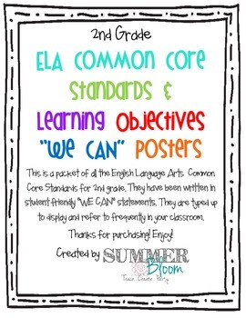 """2nd Grade Common Core English Language Standards """"WE CAN"""" Posters"""