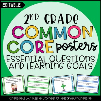 2nd Grade Common Core {Essential Questions & Learning Goals - Marzano} EDITABLE!