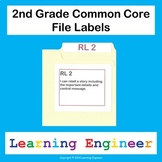 2nd Grade File Labels, Common Core ELA and Math