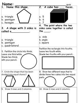 2nd Grade Common Core Geometry MINI Unit