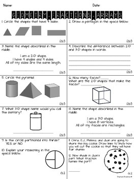 2nd Grade Common Core Geometry Test
