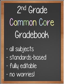 2nd Grade Common Core Gradebook - Fully Editable!