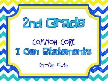 2nd Grade Common Core I CAN Statements