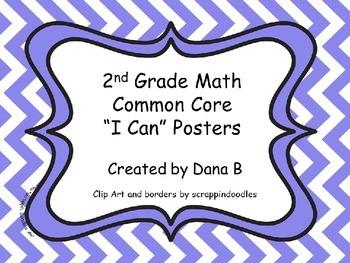 "2nd Grade Common Core ""I Can"" Math Posters - Chevron"