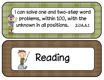 2nd Grade Common Core ELA and Math I Can Statements Camping Theme
