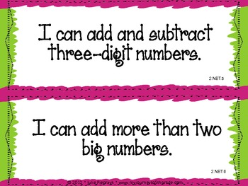 """2nd Grade Common Core """"I Can"""" Statements for Mathematics"""