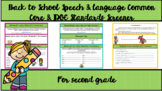 2nd Grade Common Core & IDOE Standards Screener for Speech
