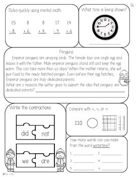 2nd Grade January Morning Seat Work -Common Core Aligned