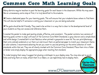 2nd Grade Common Core Learning Goals {Posters, Targets, Objectives}