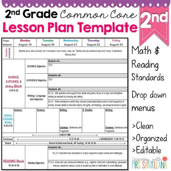 2Nd Grade Common Core Lesson Plan Template By Math Tech Connections