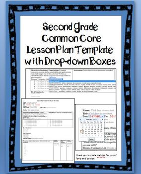2nd Grade Common Core Lesson Plan Template with Drop-down Boxes