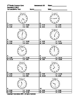 2nd Grade Common Core Math 2.MD.7 Practice of Time Measurement PDF