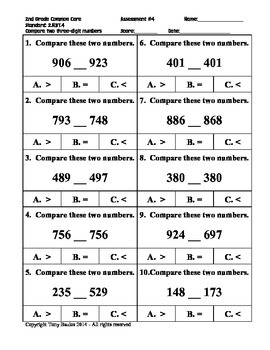 2nd Grade Common Core Math 2 NBT.4 Compare Two Three-Digit Numbers 2.NBT.4 PDF