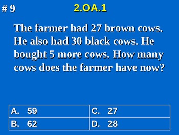 2nd Grade Common Core Math 2 OA.1 Addition and Subtraction Word Problems 2.OA.1