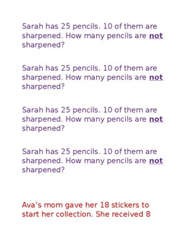 2nd Grade Common Core Math Application Problems Editable! Cut and Paste!