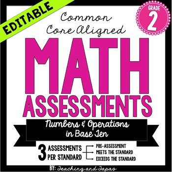 2nd Grade Common Core Math Assessment -Numbers and Operations (3 Tests/Standard)