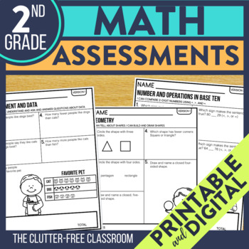 Second Grade Math Assessments for Progress Monitoring
