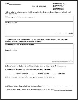 2nd Grade Math Assessment Homework Practice Worksheets: Common Core - [Pack1]