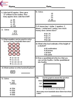 2nd Grade Common Core Math Assessment SHORT Form A (10 Questions) Second Grade