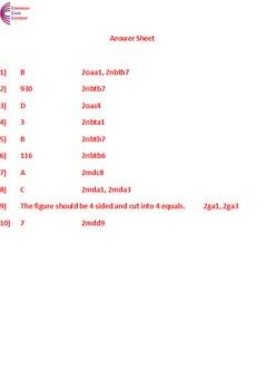 2nd Grade Common Core Math Assessment SHORT Form A (10 Questions) Second Grade