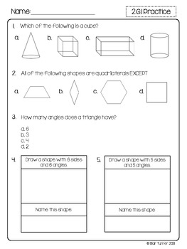 2nd Grade Common Core Math Assessments - Geometry