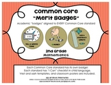 """2nd Grade Common Core Math Badges, with """"I Can"""" Checklists"""