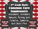 2nd Grade Common Core: Math Bundle{Assessments, Writing Response & I Can Charts}