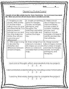 2nd Grade Common Core Math: Geometry Choice Board & Self-Assessment