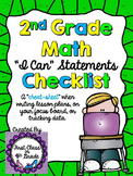 "2nd Grade Common Core Math ""I Can"" Checklist (Ink Saver)"