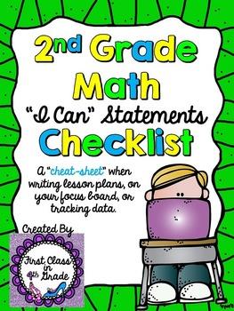 "2nd Grade Common Core Math ""I Can"" Checklist (Ink Saver)"