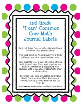"""2nd Grade Common Core Math """"I Can"""" Journal Labels"""