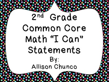 2nd Grade Common Core Math I Can Statement Cards_Dots