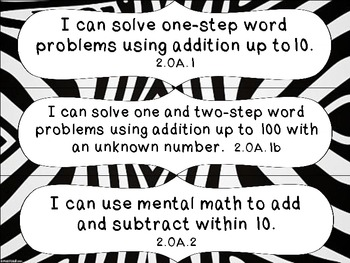 2nd Grade Common Core Math I Can Statement Cards_Zebra