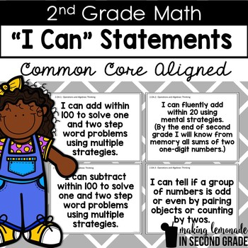 """2nd Grade Common Core Math """"I Can"""" Statement Posters"""