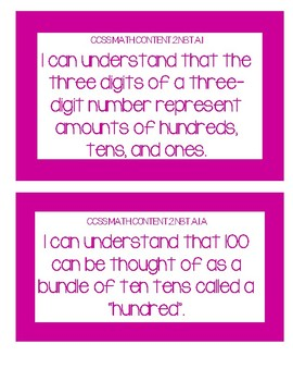 2nd Grade Common Core Math I Can Statements