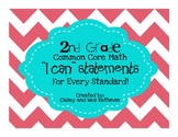 "2nd Grade Common Core Math ""I Can"" Statements - Chevron Print"