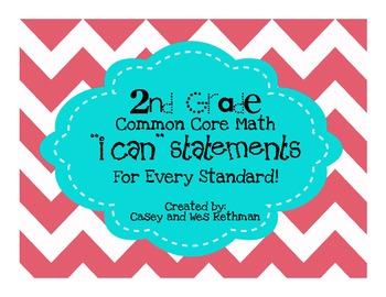 "2nd Grade Common Core Math ""I Can"" Statements - Chevron Print"
